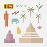 Sri Lanka lägenhetsymboler royaltyfri illustrationer