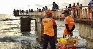 Sri Lanka Life guard and Coast Guard Ready to Rescue Stock Photography