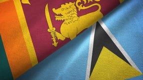 Sri Lanka Lucia i święty dwa flagi tekstylny płótno, tkaniny tekstura ilustracja wektor
