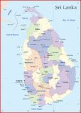 Sri Lanka Map. Designed in illustration with the main cities. and road Royalty Free Stock Photography