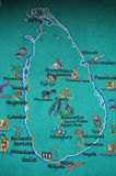 Sri Lanka map. Sri Lanka is marked on the map of the tourist attractions stock photos