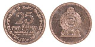 Sri Lanka moneda de 25 centavos Imagen de archivo libre de regalías