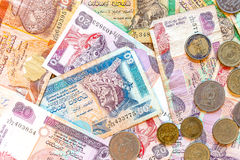 Sri Lanka money Rupee, banknotes and coins Stock Image