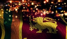 Sri Lanka National Flag Light Night Bokeh Abstract Background royalty free stock photography