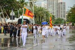 Sri Lanka Navy parade marching in International Fleet Review 201. Pattaya, Thailand - November 19, 2017: Sri Lanka Navy parade marching on the 50th anniversary Royalty Free Stock Images
