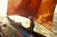 SRI LANKA NEGOMBO DHONI FISHINGBOAT. Dhoni Fishingboats at the coast of Nagombo at the westcoast of Sri Lanka in Asien Stock Photo