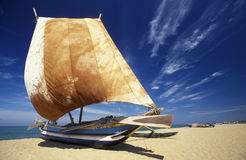 SRI LANKA NEGOMBO DHONI FISHINGBOAT Stock Photo