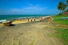 Sri Lanka, November 14: Indian Ocean fishermen pull the net with Royalty Free Stock Image