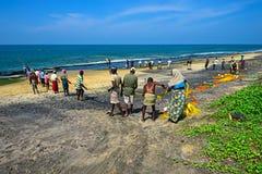Sri Lanka, November 14: Indian Ocean fishermen pull the net with Stock Images