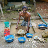 Sri Lanka - November 29, 2013: Unskilled worker at the mine for Stock Image
