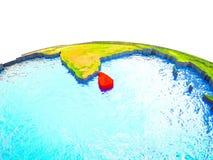 Sri Lanka på jord 3D royaltyfri illustrationer