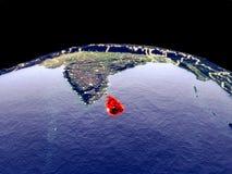 Sri Lanka på jord från utrymme vektor illustrationer