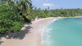 Sri Lanka Paradise Beach Slowmotion Aerial 4k. Aerial footage of a beautiful beach in Sri Lanka. Slowmotion footage in 4k stock video footage