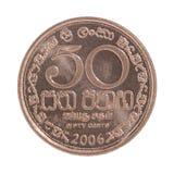 Sri Lanka pièce de monnaie de 50 cents Photographie stock libre de droits