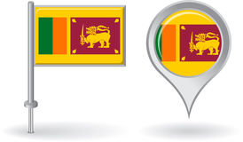 Sri Lanka pin icon and map pointer flag. Vector Stock Photography