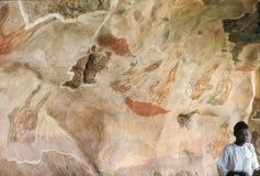 1977 Sri Lanka Pintura de pared en la roca de Sigiriya Imágenes de archivo libres de regalías