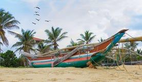 Sri-lanka plaży słońca łódź Obraz Royalty Free
