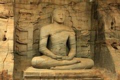 Sri Lanka - Polonnaruwa - Buda em Gal Vihara imagem de stock