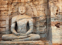 Sri Lanka, Polonnaruwa - Gal Vihara Buddhist statue carved fron. Sri Lanka, Polonnaruwa - Big Gal Vihara Buddhist statue carved fron natural rock royalty free stock photo