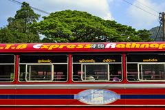 Sri Lanka red bus on the station. Sri Lanka - March, 2017: Red bus called Rathnapura Express on a bus station on a background of bright green tree and blue sky Stock Photos