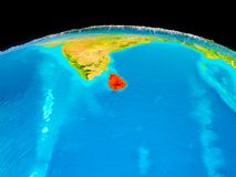 Sri Lanka in red. Satellite view of Sri Lanka highlighted in red on planet Earth with borderlines. 3D illustration. Elements of this image furnished by NASA Royalty Free Stock Photo