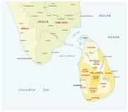 Sri lanka and south india administrative map Stock Image