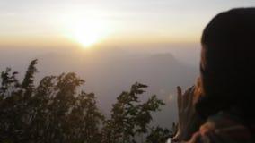 Sri Lanka, Southern Asia - January 15, 2017 Pilgrims and tourist people climb the trail to the holy mountain Adams Peak stock video