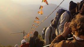 Sri Lanka, Southern Asia - January 15, 2017 Pilgrims and tourist people climb the trail to the holy mountain Adams Peak stock footage