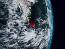 Sri Lanka from space at night stock images