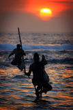 Sri Lanka: Stilt fishermen Royalty Free Stock Images