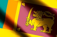 Sri Lanka. Stylish waving and closeup flag illustration. Perfect for background or texture purposes royalty free illustration