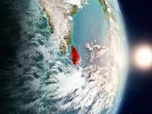 Sri Lanka during sunrise. Highlighted in red on planet Earth with visible country borders. 3D illustration. Elements of this image furnished by NASA Stock Images