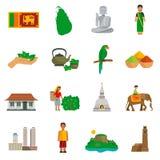 Sri Lanka symboler royaltyfri illustrationer