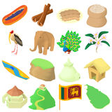Sri Lanka symboler uppsättning, tecknad filmstil vektor illustrationer