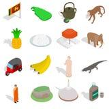 Sri Lanka symbolsuppsättning, isometrisk stil 3d royaltyfri illustrationer
