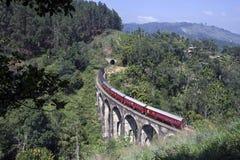 Sri Lanka train Demodara Nine Arch Bridge. Demodara Nine Arch Bridge in Sri Lanka Royalty Free Stock Photo