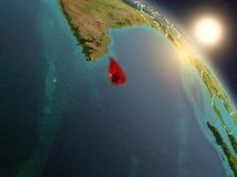 Sri Lanka van ruimte tijdens zonsopgang Stock Foto