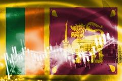 Sri Lanka-vlag, effectenbeurs, uitwisselingseconomie en Handel, olieproductie, containerschip in de uitvoer en de invoerzaken en stock fotografie