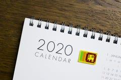 Sri Lanka-Vlag op de Kalender van 2020 royalty-vrije stock foto's