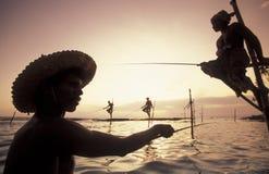 SRI LANKA WELIGAMA rybacy Zdjęcia Stock
