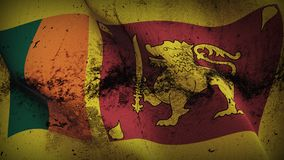 Sri Lanka grunge dirty flag waving on wind. Sri Lankan background fullscreen grease flag blowing on wind. Realistic filth fabric texture on windy day Royalty Free Stock Image