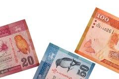 Sri lankan bankbiljetten van 100.20.50 die Roepies op witte achtergrond met het knippen van weg worden geïsoleerd Stock Afbeeldingen