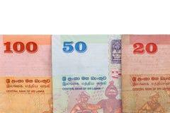 Sri lankan bankbiljetten van 100.20.50 die Roepies op witte achtergrond met het knippen van weg worden geïsoleerd Royalty-vrije Stock Afbeeldingen