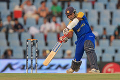 Sri Lankan batsman Mahela Jayawardene. Plays a shot against South Africa in ICC Champions Trophy 2009 stock photos