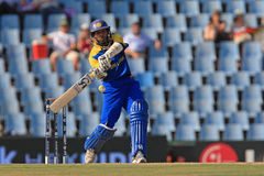 Sri Lankan batsman Tillakaratne Dilshan. Plays a shot against South Africa in ICC Champions Trophy 2009 stock photo