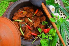 Sri Lankan Chicken Curry With hot hot Kochchi!. Sri Lankan Chicken curry with hot hot Kochchi Chili Pepper in clay pot Stock Photos