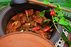 Sri Lankan Chicken Curry With hot hot Kochchi!. Sri Lankan Chicken curry with hot hot Kochchi Chili Pepper in clay pot Stock Photography