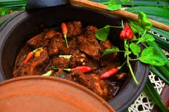 Sri Lankan Chicken Curry With hot hot Kochchi!. Sri Lankan Chicken curry with hot hot Kochchi Chili Pepper in clay pot Stock Photo