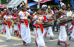 Sri Lankan Dancers and Gete Beraya(drum) players peform during the Hikkaduwa Perahara in Sri Lanka. Stock Photo