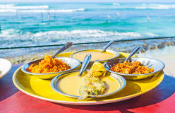 Sri Lankan dinner. The fish curry is the most popular dish on the ocean`s coast, the local chefs say, that they cook the most delisious curry, Ahangama, Sri royalty free stock image
